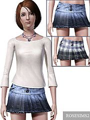 Sims 3 skirt, buttons, everyday, clothing