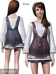 Sims 3 outfit, necklace, embroidery, clothing