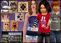 Sims 3 clothing, fashion, tatoo, house, paintings