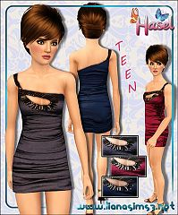 Sims 3 dress, one shoulder, fashion, female, teen, formal