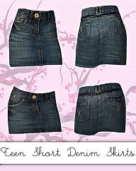 Sims 3 teen, denim, skirt, jeans