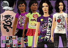 Sims 3 clothing, fashion, tops, children, tatoos, paintings