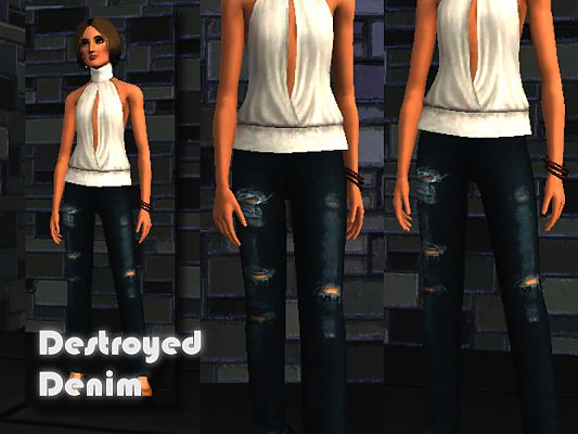 Sims 3 jeans, denim, destroyed