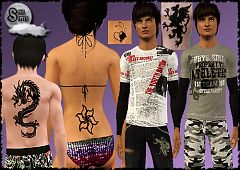 Sims 3 fashion, clothing, tatoo, male, teen