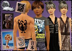 Sims 3 clothing, children, elder, tatoo, paintings