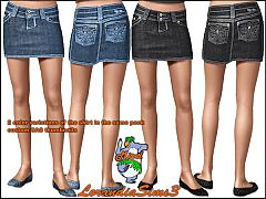 Sims 3 Denim, short, length, skirt