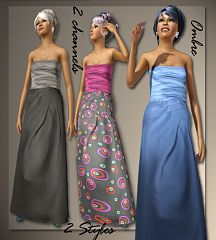 Sims 3 gown, dress, satin, formal, elder, fashion