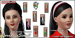 Sims 3 Gold earrings, gems, earrings