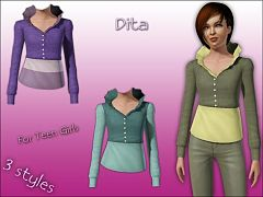 Sims 3 top, fashion, teen, girl, cloth