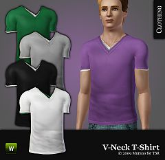 Sims 3 men, t-shirt, v-neck, male