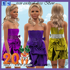 Sims 3 dress, fashion, clothing, bow, teen