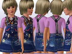 Sims 3 fashion, clothing, kids, denim, dress