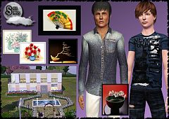Sims 3 males, clothing, top, house, paintings