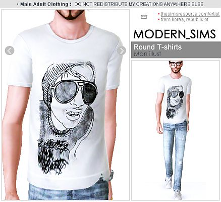 Sims 3 men, t-shirt, graphic