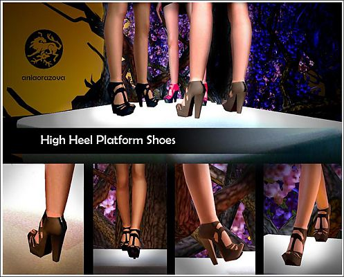 Sims 3 shoes, platforms, zipper, sandals