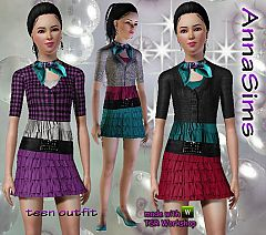 Sims 3 skirt, ruffle, scarf, sweater, teen, everyday