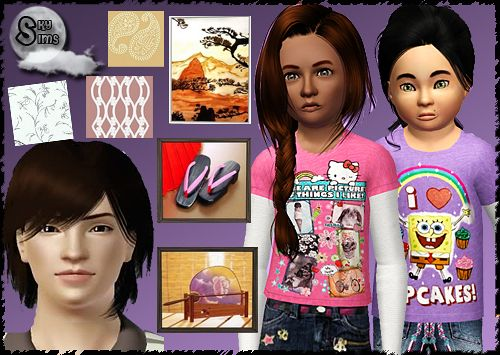 Sims 3 clothing, children, sims, paintings