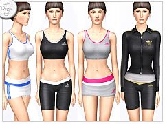 Sims 3 clothing, fashion, athletic, adidas, sport, female