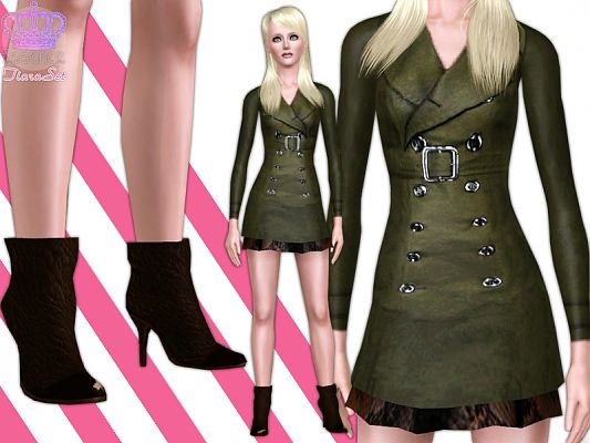 Sims 3 jacket, shoes, fashion, female, designer
