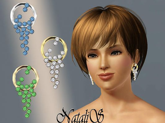 Sims 3 earrings, rhinestones, jewelry, fashion, accessories