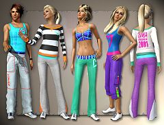 Sims 3 athletic, top, bottom, pants, fashion, clothing, female
