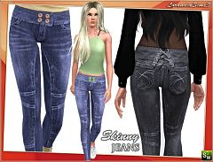 Sims 3 jeans, skinny, bottom, denim, fashion, clothing, female
