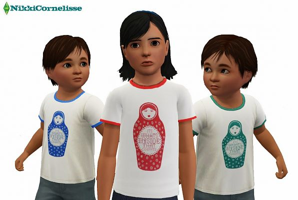 Sims 3 t-shirt, clothing, top, children