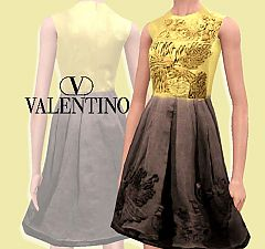 Sims 3 valentino, dress, embroidery, gossip girl