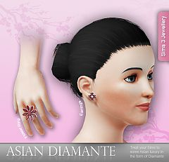 Sims 3 set, jewelry, ring, earrings, accessories, female