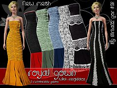 Sims 3 gown, dress, long, formal, necklace, gems