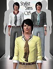Sims 3 men, shirt, scarf