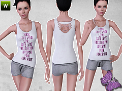 Sims 3 outfit, sport, athletic, fashion, female