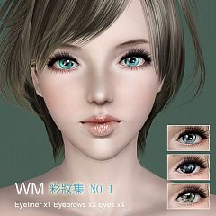 Sims 3 eyeliner, eyebrows, eyes, makeup, genetics, female