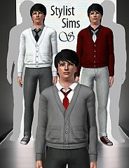 Sims 3 male, cardigan, tie, top