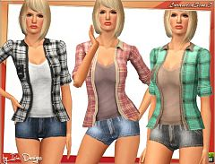 Sims 3 cloth, clothes, short, denim, pants, bottom, top, shirt