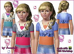 Sims 3 sweater, denim, embroidery, top, female, fashion