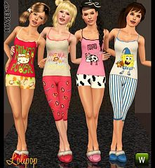 Sims 3 sleepwear, set, lingerie, cloth, teen