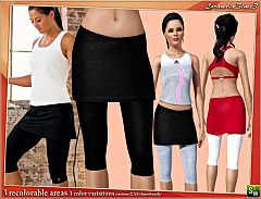 Sims 3 Performance, capri, knee under, fitted, skirt, leg