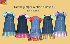 Sims 3 toddler, denim, dress, jeans, jumper