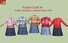 Sims 3 toddler, dress, skirt, denim, jeans, sweater