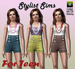 Sims 3 teen, high waisted, pants, short, buttoned, neckla