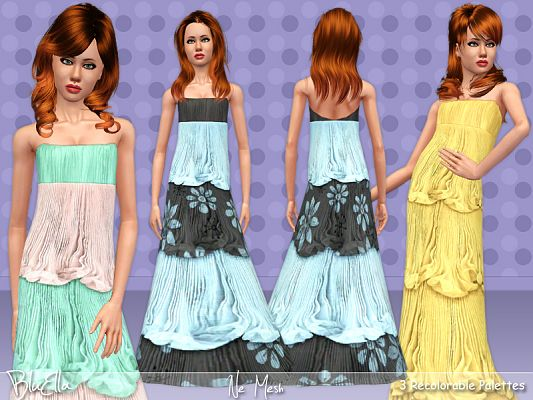 Sims 3 gown, dress, fashion, organza, ruffle, teen, fashion