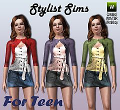 Sims 3 denim, jeans, skirt, cardigan, outfit, teen