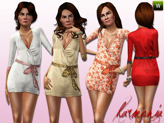 Sims 3 robe, satin, elder, fashion, female
