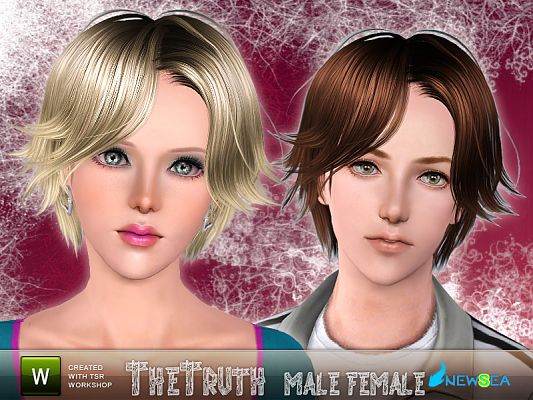 Sims 3 hair, hairstyle, genetics, female, male
