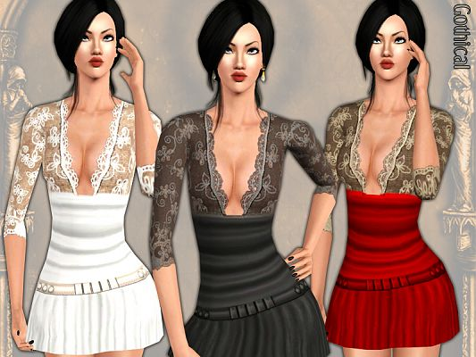 Sims 3 dress, fashion, gown, female