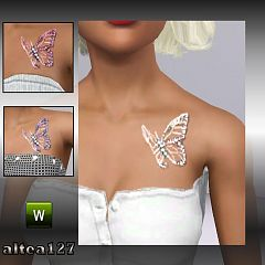 Sims 3 tattoo, accessories, female