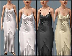 Sims 3 satin, formal, dress, elder, female