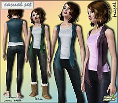 Sims 3 outfit, skinny, jeans, denim, cardigan