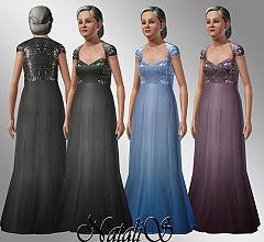 Sims 3 elder, female, formal, dress